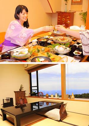 茄子のはなはお客様が夕食を召し上がる空間にもこだわりを持っています